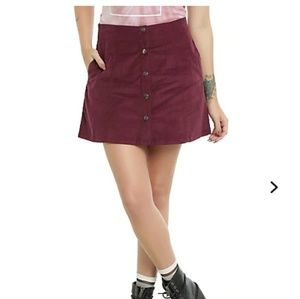Hot Topic Burgundy Button Down Skirt